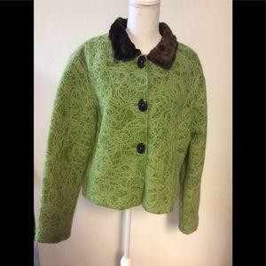 Vintage Classy Blazer Size XL Wool Faux Fur Collar